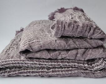 "Linen Bath Towel 39""x55"" Bath Sheet  SHIPPING WORLDWIDE Prewashed Softened Pattern Fringed Violet Lavender color Valentine day  RAR81"