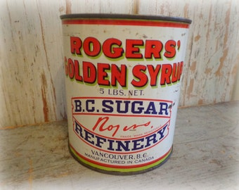 vintage rogers golden syrup tin / rare can from vancouver canada