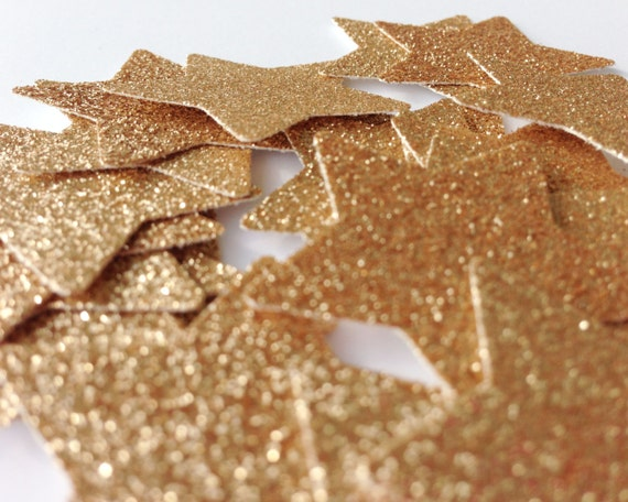 25 Rose Gold Glitter Star Punch Die Cuts 1 3/8 inch - Confetti, Table Decoration, Wedding, Birthday, Bridal Shower, Bachelorette