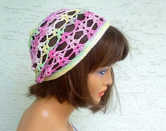 Crochet lacy cloche hat, cap, colorful, spring and summer hat, gift for her under 20, hair accessoriy, womens clothing, girls hat