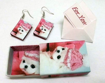 "Free Ship MINI BOOK EARRINGS dog Maltese o Personalized with your pet friend picture + mini gift box + mini gift card ""For you"" christmas"