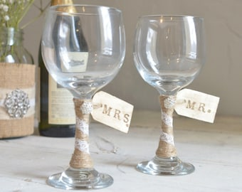 Wine Wedding Toasting Glasses- Mr. and Mrs. Glasses by Burlap and Linen Co