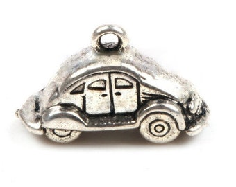 6 VOLKSWAGON VW Love Bug 3 D Car Charms Antique Silver Tone Hippie Charm Jewelry 14x24x10 mm