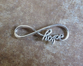 18 Large HOPE INFINITY Bracelet Connectors Atq Silver Tone Inspirational Connector Jewelry 39x15 mm