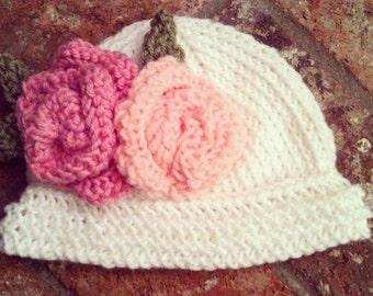 Hand Knitted Baby Flower Bucket Hat Beanie