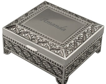 Engraved Personalized Silver Jewelry Box