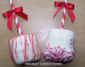 Peppermint Marshmallow Pops - Party favors - chocolate covered marshmallows on a stick dipped in chocolate - Christmas party favors