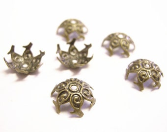 30pcs 12mm antique bronze flower bead caps-659