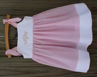 Gingham embroidery Knot Dress