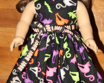 "Halloween Cats and Bats Handmade Colorful Dress fitting American Girl & Similar 18"" Soft Bodied Dolls - Doll Clothes"