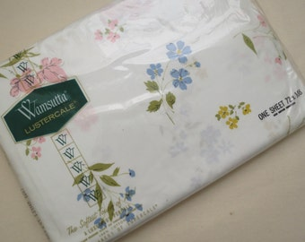 BRAND NEW in Package - Pastel Flowers - Twin or Single Flat Vintage Sheet