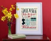 Jane Austen poster, literary print, Jane Austen bigliography, hand type poster (12,60 x 18,10)