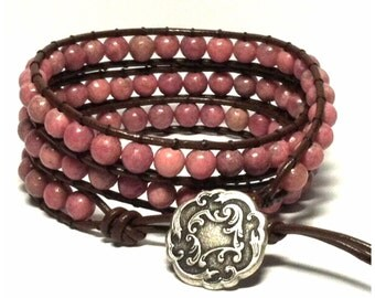 Leather Wrap Bracelet - Pink Rhodonite Semi-Precious Stone, Dark Brown Leather - Bohemian Artisan Chic
