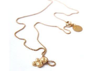 dainty solid gold pendant necklace, gold circles necklace, 14k Delicate Gold Bubbles necklace, dainty solid gold necklace