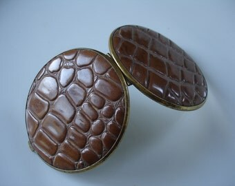 Vintage Alligator / Crocodile Brown Brass Mirrored Compact / Mock Croc
