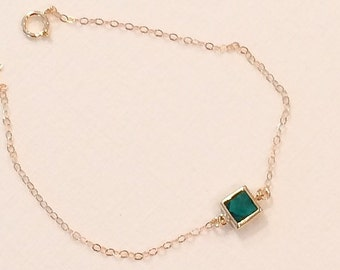 Hunter green crystal bracelet