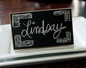 """Chalkboard Place Cards - Table Markers - 3""""x5"""" - Distressed Edges - Set of 4"""