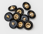"12 Vintage 13/16"" Plastic Shank Buttons. Shiny Black and Gold, Touch of Copper. Roulette Wheel Center Design. Sewing, Art. Item 1532P"