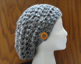 Crochet Slouchy Beanie Hat Heather Gray Wood Button Acrylic Warm Women Teen  Beret Tam
