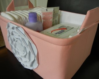 "LG Diaper Caddy(No Divider)-Toy Bin 12""x8""x6""(choose COLORS)- Baby Gift-Fabric Storage Organizer -""White Rose on Pastel Pink"""