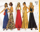 Misses A-Line Empire Waist Halter Neck Maxi Dress Sailor Collar With Tie or Vee Neck Size 12 Bust 34