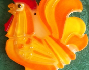 1969 Wondermold Resin Rooster Wall Plaque