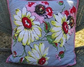 Pillow Cover Floral Spring Summer Pink White Gray Vintage Tablecloth
