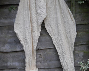 RitaNoTiara  shabby chic boho Quirky oversized cotton artisanLagenlook Jodhpurs RIding Pants New Romantic Victorian Gothic Layering Trousers