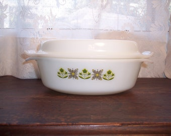 Vintage Fire King Oval Casserole 1 1/2 quart Anchor Hocking casserole dish meadow green