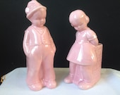 Dutch Boy and Girl Planter Set - Pink Ceramic - Unmarked Pottery