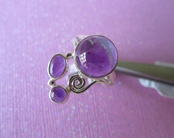 Sterling Silver Ring with Amethyst size 8