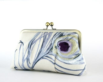 EllenVintage Peacock Clutch in Lavender, Wedding clutch, Bridal clutch, Bridesmaid clutch, Evening bag