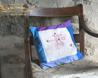 Bicyclette  - Embroidery, patchwork, framing -