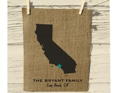 California Map, Burlap State Map, Burlap Art, Personalized Burlap Wall Art, Frame not included, Housewarming Gift, Room Decor, Wedding Gift