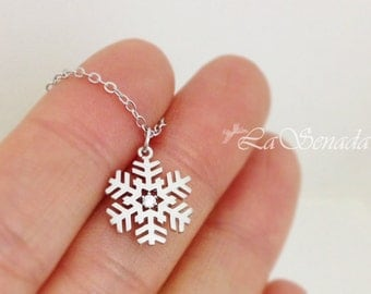 Snowflake Necklace in White Gold, Christmas Gift, For winter