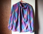 VTG 70s 60s Jester Plaid Patterened Shirt