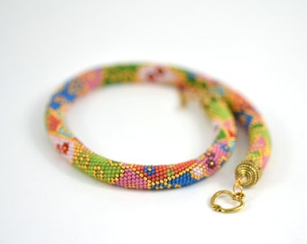 Summer Forever - Pastel Necklace - 24K Gold Pink  Yellow Blue Red Green Bead Crochet Necklace Beadwork  Jewelry  Multicolors  Made to order