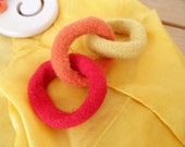 Eco Friendly Baby Toy, Felted Teething Fire Rings, Natural Toy, Hand Knit, Natural Alternative, Felt Toy