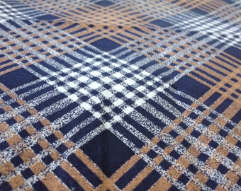 Vintage 1940s cotton fabric large diagonal plaid