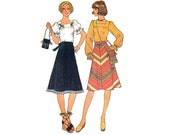 1970s Women's Pattern, Simplicity 7477, Square Neck Peasant Blouse, Bias Skirt, Boho Bag, 1976 Vintage Sewing Pattern, Bust 34 Uncut FF
