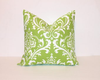 CLEARANCE - Free shipping - ONE - 18 x 18 Green Damask Pillow Cover - Premier Prints