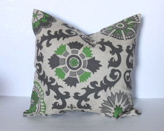 SLIGHT FLAW* ONE - 18 x 18 Green Rosa Pillow Cover - Premier Prints