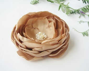 Light brown flower hair clip Hair flower camel color Wedding Flower girl hair piece
