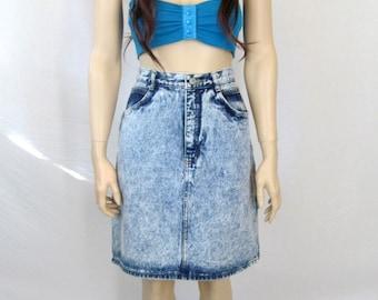 80's Skirt 80's Mini Skirt High Waist Jeans Skirt Jordache Jeans Skirt 80s Acid Washed Jean Skirt Denim Skirt  Rocker Skirt Vintage Skirt H1