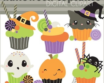 Halloween Clipart Halloween Cupcakes -Personal and Limited Commercial Use- spider cupcake, cat cupcake, etc.
