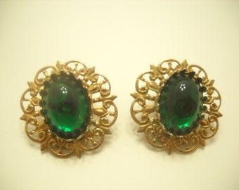 Gold Tone Clip Earrings (2658) Dark Green Cabochons