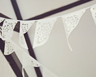 Luxury wedding bunting in gorgeous lace effect - UK made - ivory