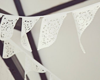 Beautiful white lace bunting, wedding bunting, perfect beach or outdoor ceremony decor