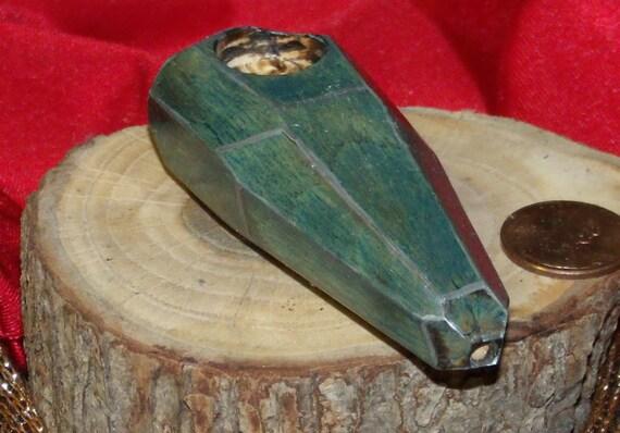 Raw gemcut oak wood tobacco pipe in blue by rkscraftworks