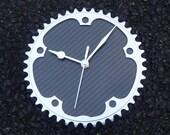 Bike part carbon fiber wall office clock cyclist biker gift silver chainring gloss black unique guys mans workshop gift